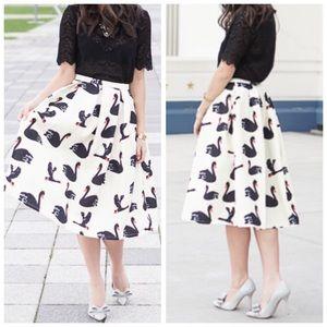 Swan Print Midi Skirt
